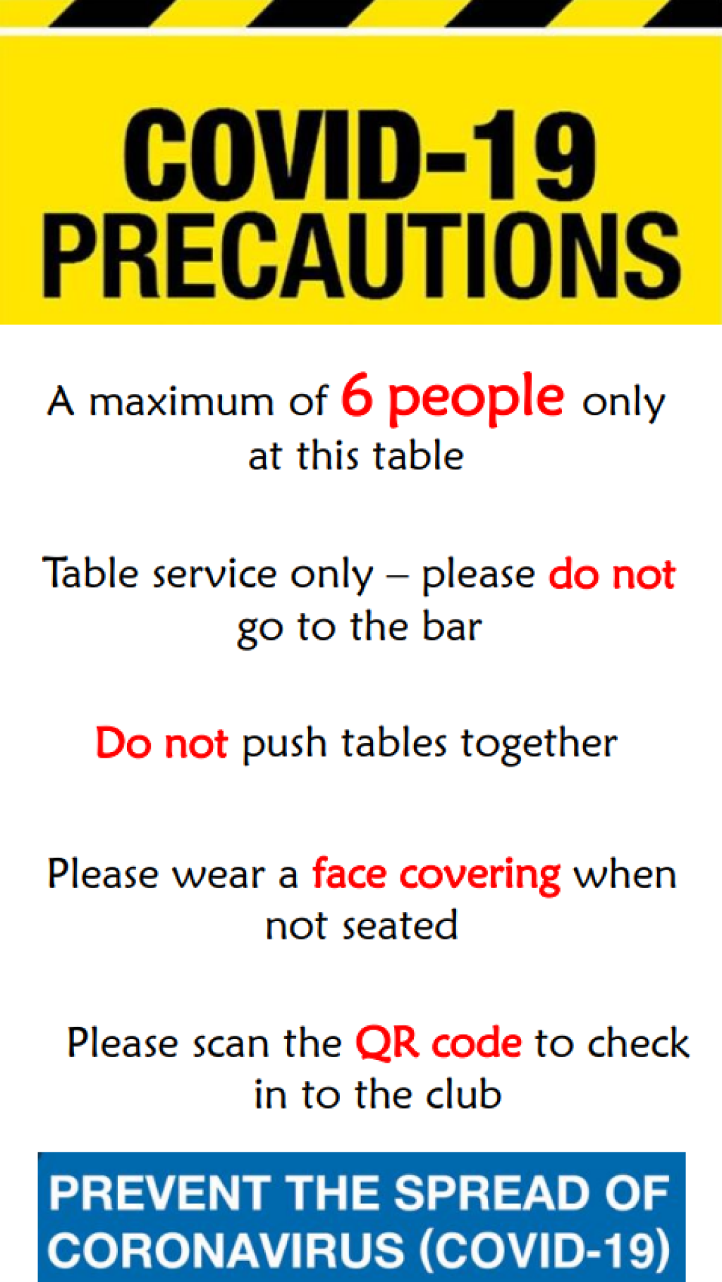 Updated guidance for visiting the bar